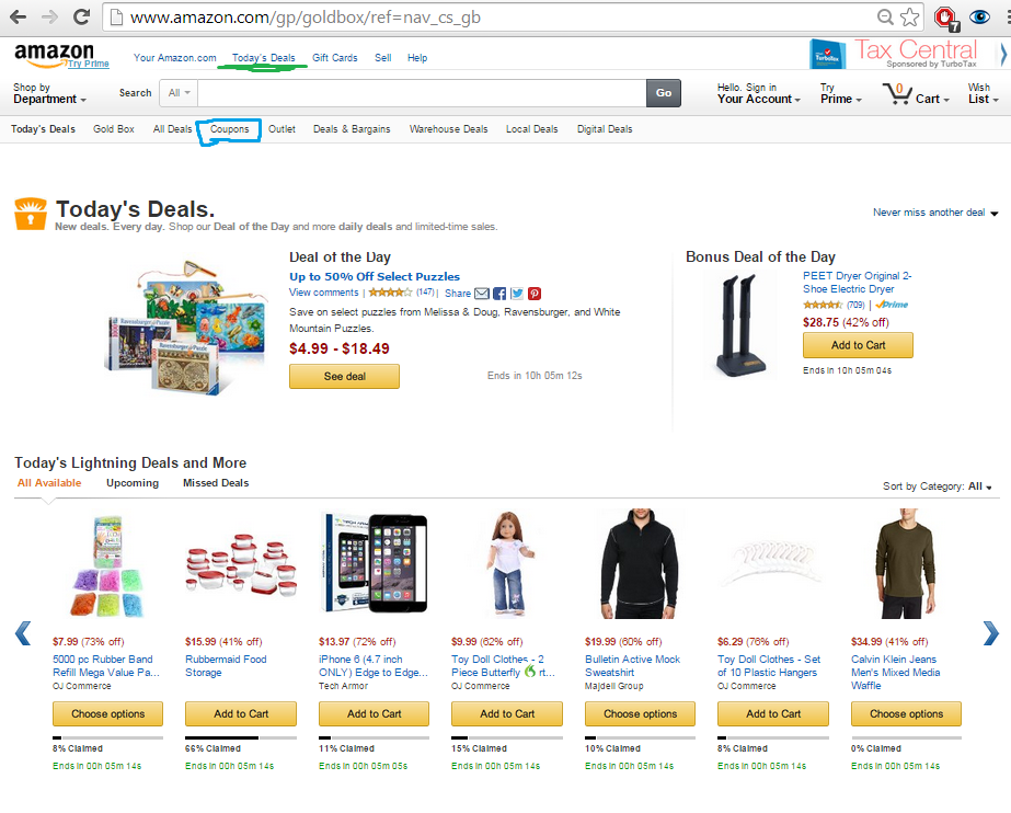 Amazon Daily Deals Page